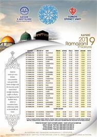 2019 Yılı Ramazan İmsakiyesi