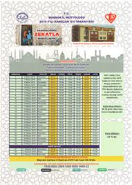 Burdur İl Müftülüğü 2019 Yılı Ramazan Ayı İmsakiyesi