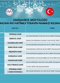 2019 YILI RAMAZAN AYI HATİMLE TERAVİH NAMAZI KILINACAK CAMİLER