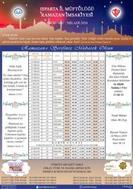 2020 Yılı Ramazan Ayı İmsakiyesi
