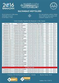 Sultangazi Müftlüğü Ramazan İmsakiyesi