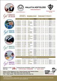 2021 Yılı Ramazan Ayı İmsakiyesi